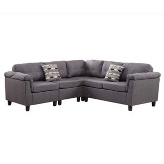 Hilvan Reversible Sectional Sofa with Pillows Upholstered in Linen