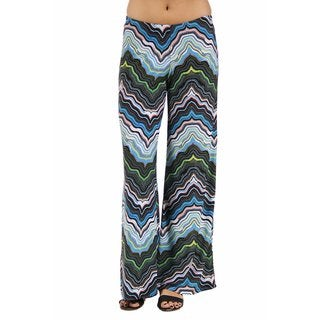 24/7 Comfort Apparel Women's Blue and Green Zig-Zag Palazzo Pants