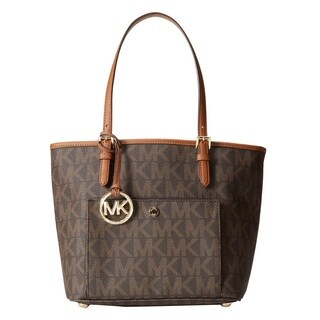 MICHAEL Michael Kors Jet Set Signature Large Snap Pocket Tote - Brown