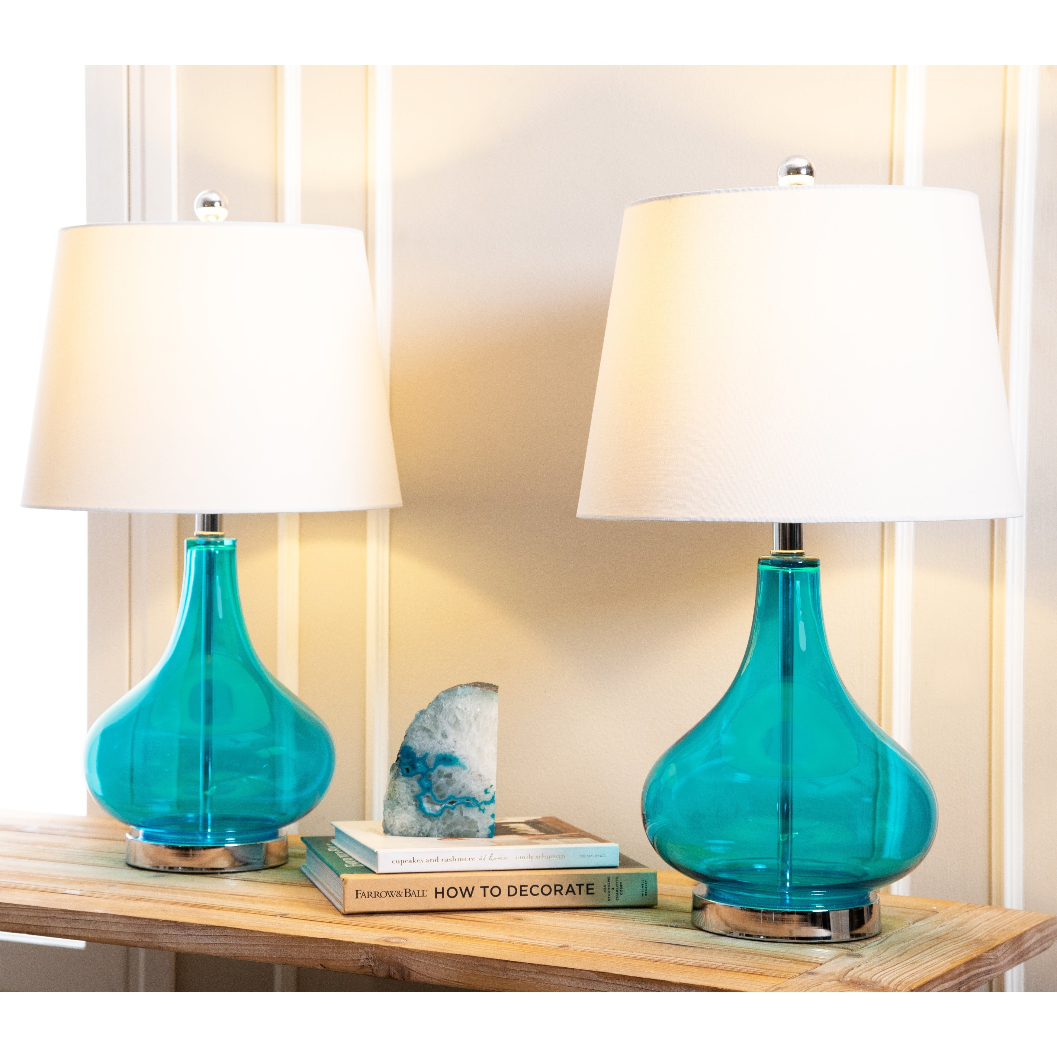 Picture of: Luciana Turquoise Glass 23 Inch Table Lamp Set Of 2 By Abbyson Overstock 10306712