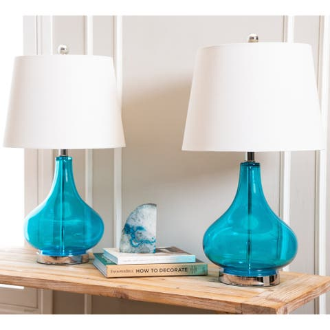 Luciana Turquoise Glass 23-inch Table Lamp (Set of 2) By Abbyson