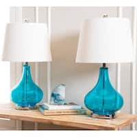Abbyson Luciana Turquoise Glass 23-inch Table Lamp (Set of 2)