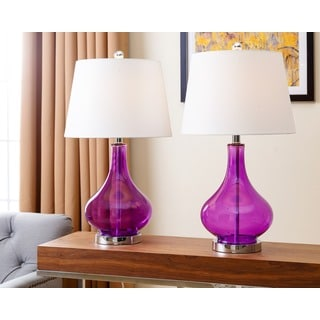 ABBYSON LIVING Luciana Purple Glass Table Lamp (Set of 2)