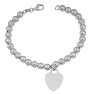 Argento Italia Rhodium Plated Sterling Silver Heart Tag on Bead Bracelet