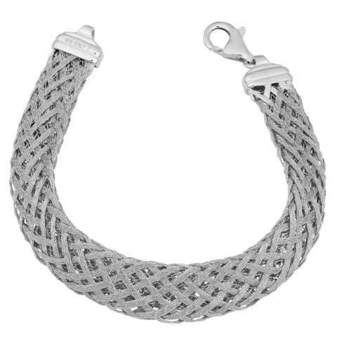 Argento Italia Rhodium Plated Sterling Silver Weave Bracelet