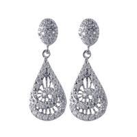 Sterling Silver Gold Finish Cubic Zirconia Teardrop Spiral Dangle Earrings
