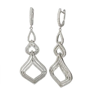 Luxiro Sterling Silver Pave Cubic Zirconia Open Teardrop Earrings