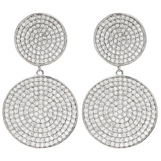 Luxiro Sterling Silver Micropave Cubic Zirconia Circle Earrings