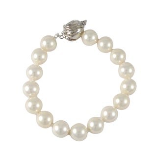 Luxiro Sterling Silver Matte White Shell Pearl Strand Bracelet