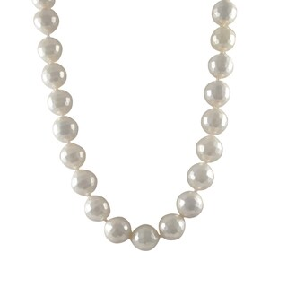 Luxiro Sterling Silver Faceted White 14-mm Shell Pearl Strand Necklace