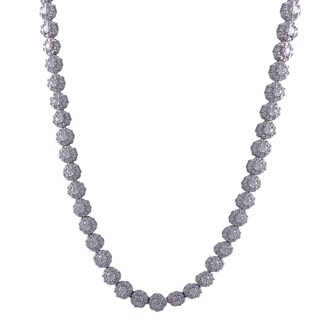 Luxiro Sterling Silver Cubic Zirconia Flower Tennis Necklace