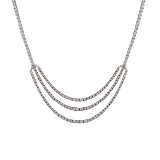 Luxiro Sterling Silver Cubic Zirconia 3-mm Tennis Necklace