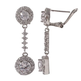 Luxiro Sterling Silver Cubic Zirconia Halo Circle Dangle Earrings