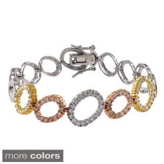 Luxiro Sterling Silver Tri-color Cubic Zirconia Open Ovals Bracelet