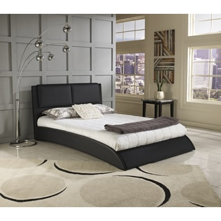Sleep Sync Shoreline Black Faux Leather Upholstered Platform Bed