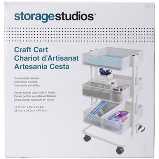 Storage Studios Rolling Craft Cart W/3 Bins 27.5inX15.1inX13.9in, White