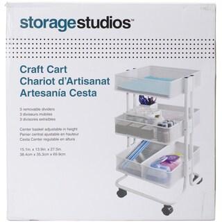Storage Studios Rolling Craft Cart W/3 Bins 27.5inX15.1inX13.9in, White