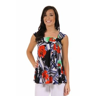 24/7 Comfort Apparel Women's Red and Black Floral Tie Top