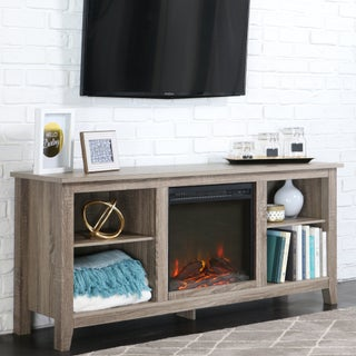 Transitional Driftwood Wood TV Stand with Fireplace