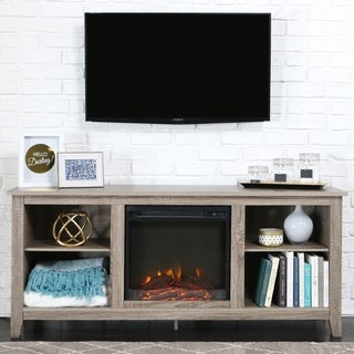Driftwood Media Console with Electric Fireplace