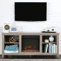 58-inch Driftwood Wood TV Stand with Fireplace
