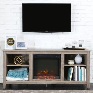 Porch & Den Roosevelt Driftwood 58-inch Fireplace TV Stand Console