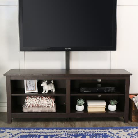 58-inch Espresso Brown TV Stand Console with TV Mount