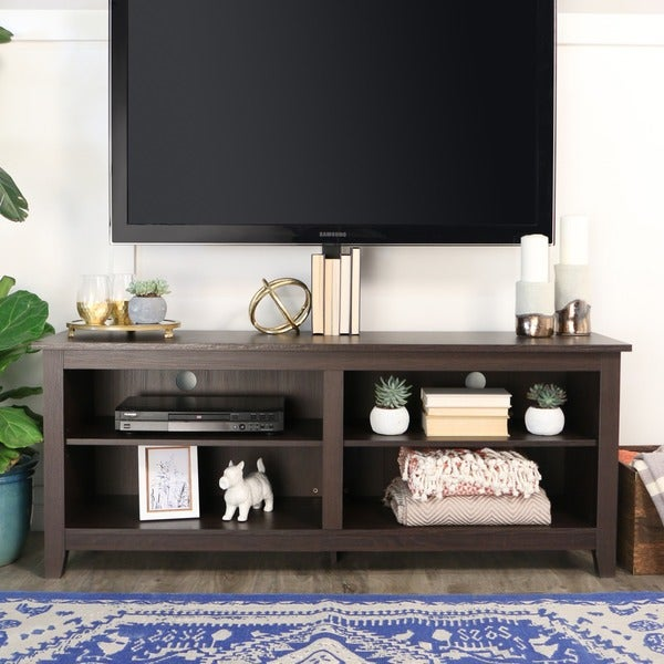 Shop 58 Tv Stand Console With Mount Espresso 58 X 16 X 24h