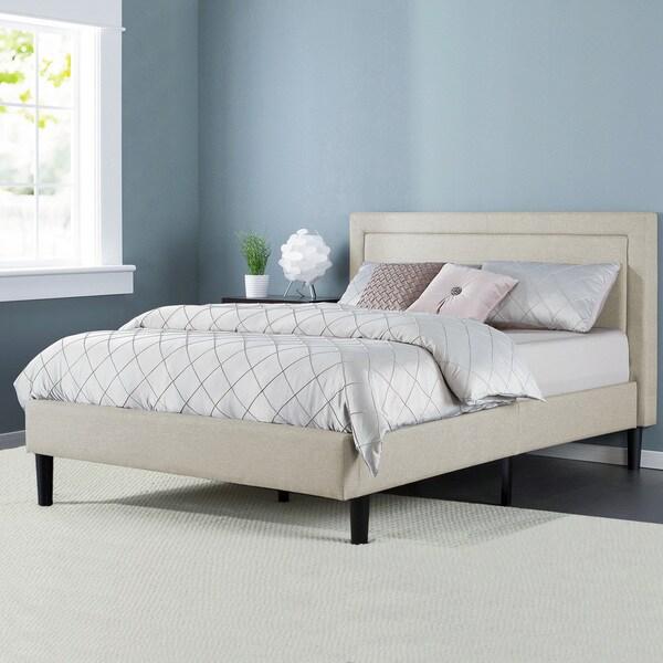 Priage Upholstered Detailed King Platform Bed with Wooden Slats ...