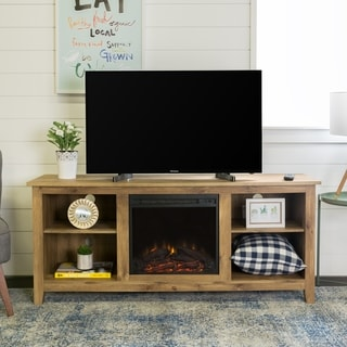58-inch Barnwood Wood TV Stand with Fireplace