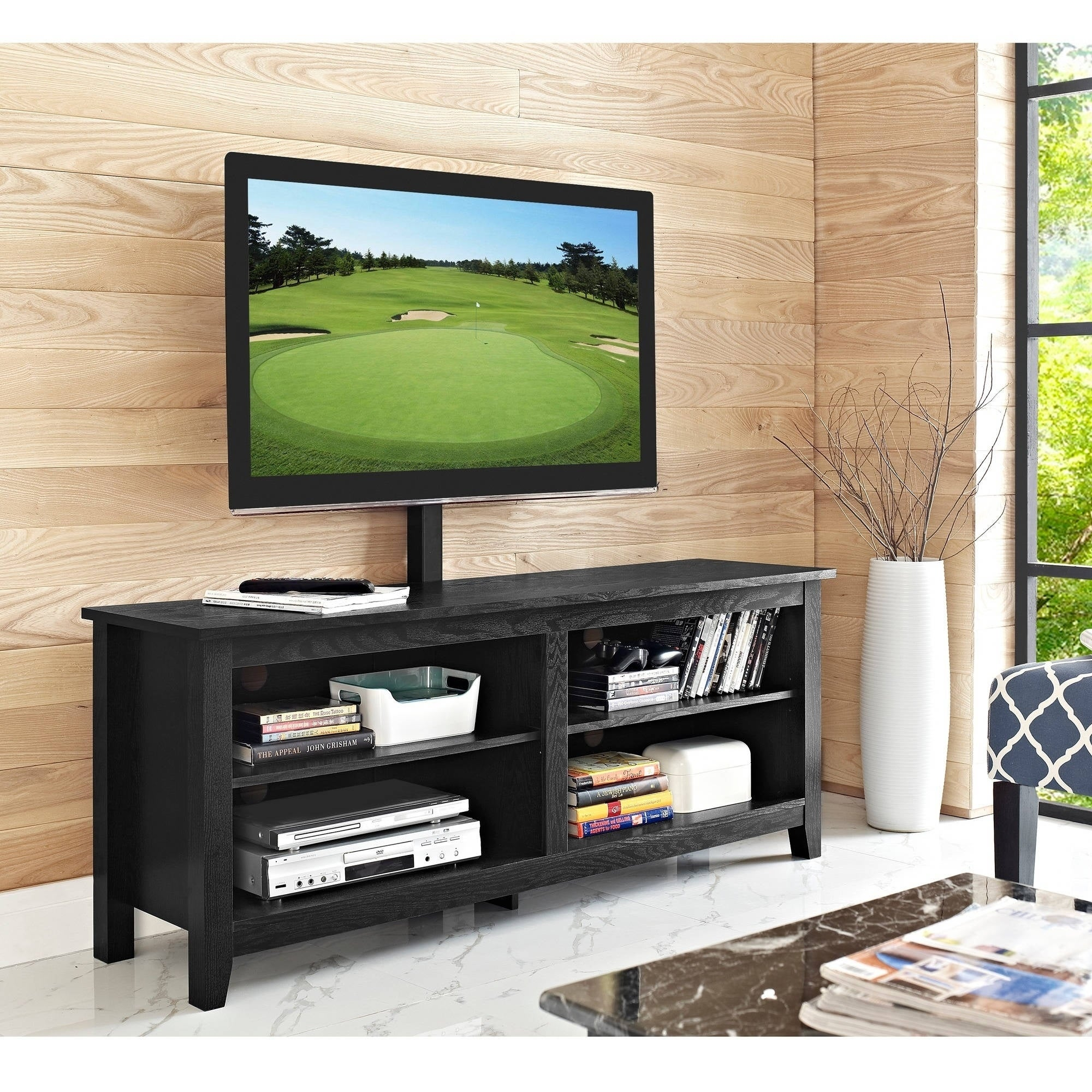 Shop 58 Inch Black Wood Tv Stand With Mount Free Shipping On