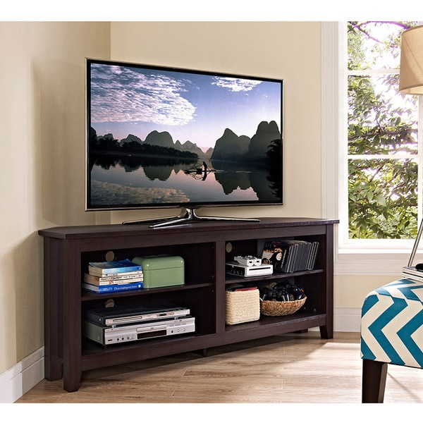 58 inch espresso wood corner tv stand free shipping today overstock 17421928. Black Bedroom Furniture Sets. Home Design Ideas