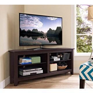 58 Inch Espresso Wood Corner TV Stand