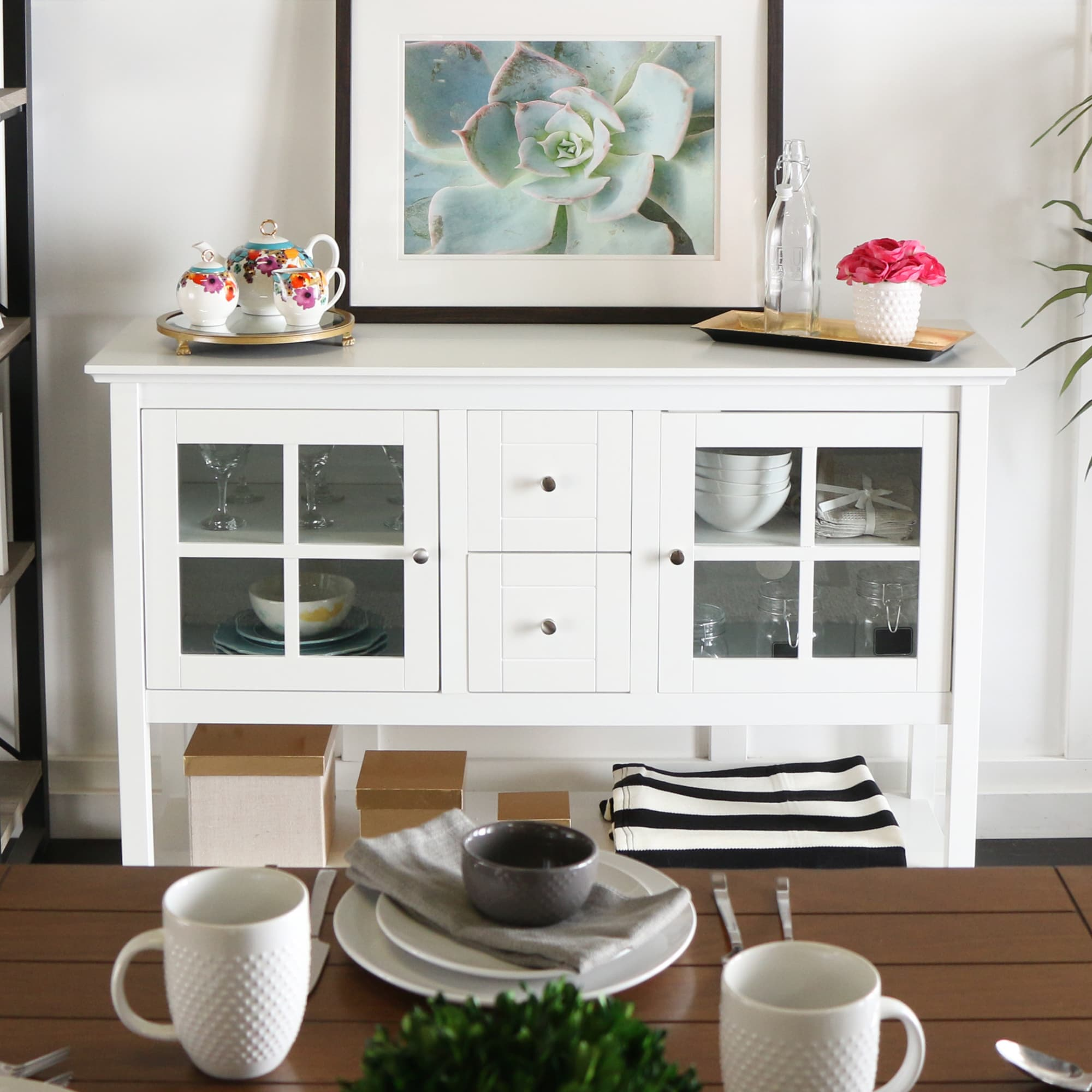 "Unbranded 52-inch White Wood Console Table/ Buffet (52"" W..."