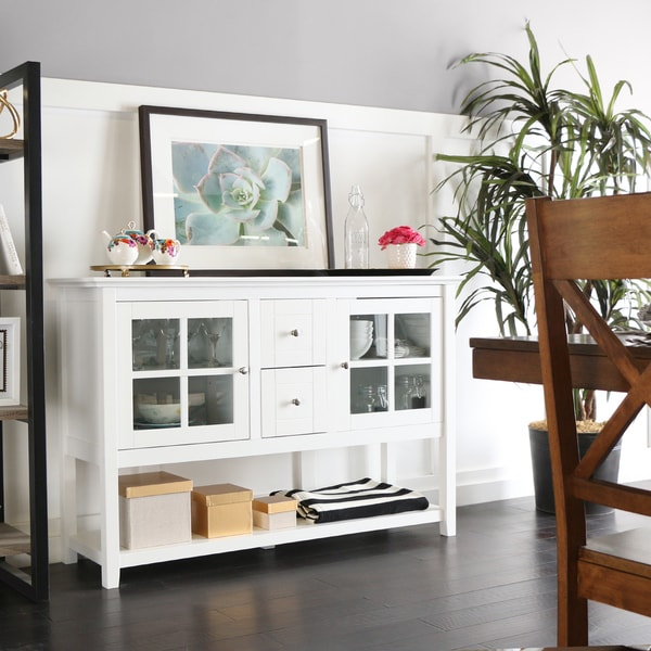 52 Inch White Wood TV Console/ Buffet   Free Shipping Today   Overstock.com    17422055