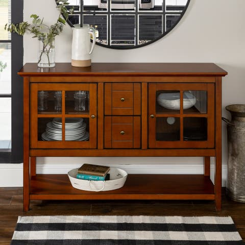 """52"""" TV Console Buffet Cabinet - Rustic Brown - N/A"""