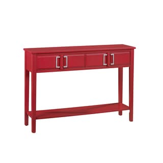 Hand Painted Red Finish Console Table