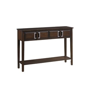 Hand Stained Walnut Brown Finish Console Table