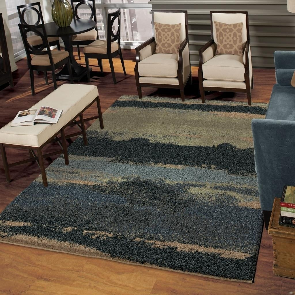 Carolina Weavers Grand Comfort Collection Curry Blue Shag Area Rug (9 x 13) - 9 x 13 (Blue - 9 x 13)