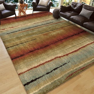 Carolina Weavers Grand Comfort Collection Field of Vision Multi Shag Area Rug (9' x 13')