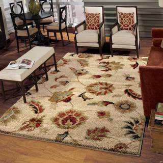 Carolina Weavers Grand Comfort Collection Floral Tendon Beige Shag Area Rug (9' x 13')
