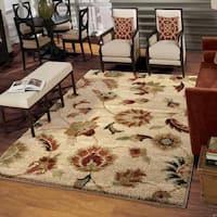 Carolina Weavers Grand Comfort Collection Floral Tendon Beige Shag Area Rug (9' x 13') - 9' x 13'