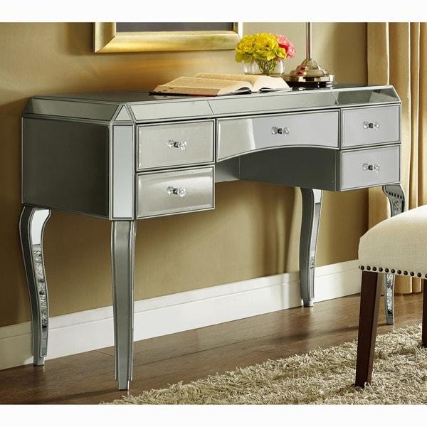 Bon Metallic Silver Finish Mirrored Desk