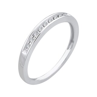 10k White Gold 1/10ct TDW Diamond Wedding Band