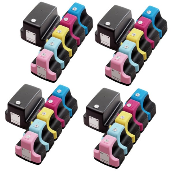 24 Pack HP 02 (4 Black, 4 Cyan, 4 Magenta, 4 Yellow, 4 Light Cyan, 4 Light Magenta ) Ink Cartridge (Pack of 24)