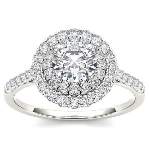 De Couer 14k White Gold 1ct TDW Diamond Double Halo Engagement Ring
