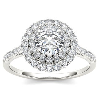 De Couer 14k White Gold 1ct TDW Diamond Double Halo Engagement Ring