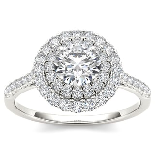 De Couer 14k White Gold 1ct TDW Diamond Double Halo Engagement Ring - White H-I