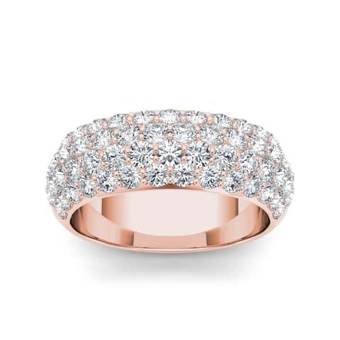 De Couer IGI Certified 14k Rose Gold 2ct TDW Diamond Wedding Anniversary Band - Pink