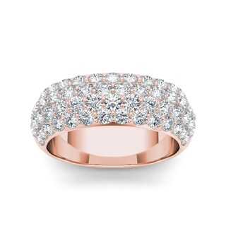 De Couer 14k Rose Gold 2ct TDW Diamond Wedding Anniversary Band - Pink
